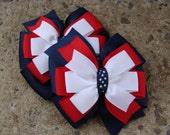 2 School uniform Hair Bow Navy Hair Bows Navy Red and White Hair Bows Pigtail Set