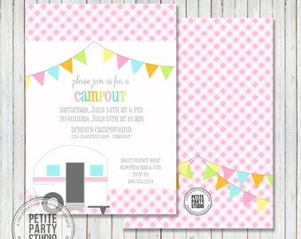 Printable Party  Invitation - Glamping Birthday Party Invitation or Baby Shower - Petite Party Studio