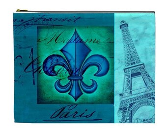 Paris In The Blue Cosmetic Bag, NirvanaRoad Makeup bag, Paris, Blue zippered pouch, Cosmetic makeup bag, blue cosmetic bag, french couture