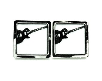 Guitar Cufflinks - Black and White - Mens Wedding Jewelry For Groom and Groomsmen - Accessories for Him