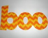 Iron On Applique...boo....Orange Yellow Chevron Halloween Stripe
