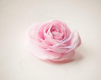 Light  pink bridal hair flower -  Rose hair clip -  Bridesmaid hair flower -  Wedding hair accessory - Flower girl hair clip