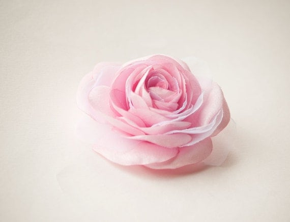 Light  pink bridal hair flower -  Rose hair clip -  Bridesmaid hair flower -  Wedding hair accessory - Flower girl hair clip