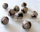 Nepal Tibet beads 5 - 10 pcs Handmade bead--Clay with brass in round shape