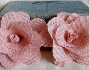 Burlap Flower, barn wedding, pink decor, fall wedding, autumn decor