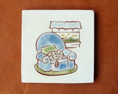 "Calico Cat on Blue Chair, handmade ceramic tile 4x4"", coaster or wall hanging"