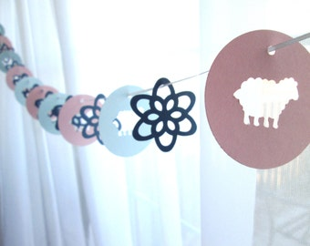 """6 Foot - 2"""" New Lamb and Wildflower Garland - Party Banner Garland perfect for Parties, and Baby Showers"""