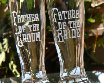 Engraved Father of the Bride and Father of the Groom Pilsner beer glasses personalized with Wedding date. Personalize gift for dad.