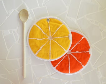 orange and lemon slice potholders - zesty lemon slice - kitchen potholders - yellow - orange - orange slice- fruit potholders - foodie gift