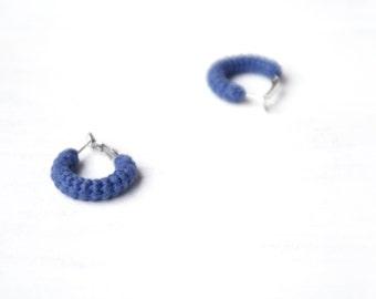 Blue Earrings, Mini Crochet Tube Hoops, 1 inch hoop earrings