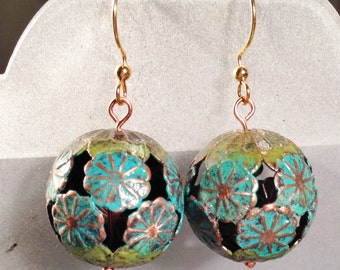 Copper Lily Pad Openwork Patina Earrings