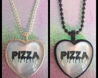 Fast Food Heart Cameo Necklace - Pizza