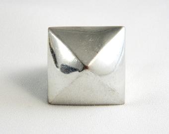 Vintage Huge Modern Silver Ring - Men's - Size 7.5
