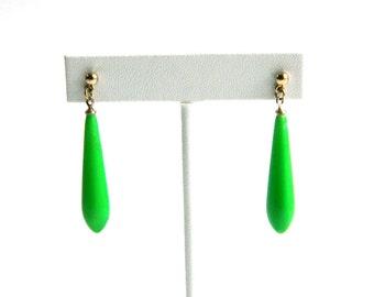 """Vintage Lime Green Tear Drop Earrings - Pierced Posts - 1 1/2"""" Long Dangle - Lightweight"""