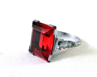 Vintage Art Deco Red Garnet Solitaire Ring - Emerald Cut Glass - Etched Silver Rhodium Band - 5 CTW - Size 4.25