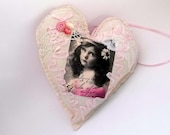 Victorian Inspired Heart Ornament Home Decor Vintage Girl Photo Pink Gray Grey