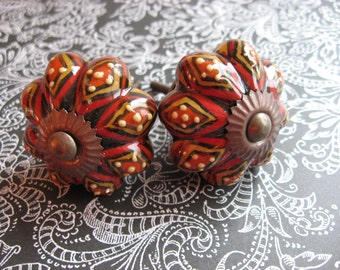 2 Black Red Mustard Yellow Hand Painted Ceramic Knobs Bohemian Tribal Dots B-26