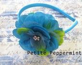 Baby headband, baby girl headband, toddler headband, big girl headband, toddler hard headband - Turquoise Flower Headband