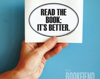 read the book oval bumper sticker or laptop decal