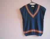 Vintage 70s Pendleton Ski Sweater Navy Blue V Neck Wool Sweater Large Winter Fashion