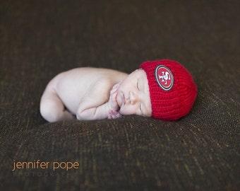 San Francisco 49er's Baby Beanie, 49er's Baby Hat, Newborn San Francisco 49er's Hat, SF 49er's newborn baby, Handmade Knit Baby Hat Sports