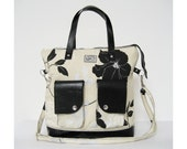 Off White Floral Canvas Tote. Black Faux Leather Accents. Black Large Floral Print Zipper Tote. Rio Tote. FREE SHIPPING Worldwide