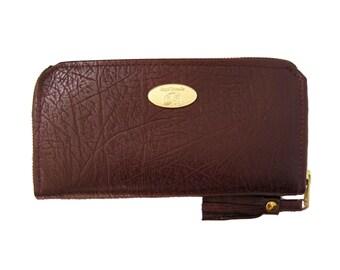 SALE Maroon Leather Accordion Zipper Wallet. Handmade Leather Purse / Wallet. Wine Color Wallet. Zipper Shira Wallet.