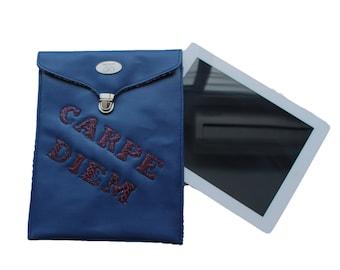 Blue Carpe Diem Quote iPad Sleeve. Handmade iPad Storage. PU Leather Table Sleeve. Inspiration iPad Sleeve