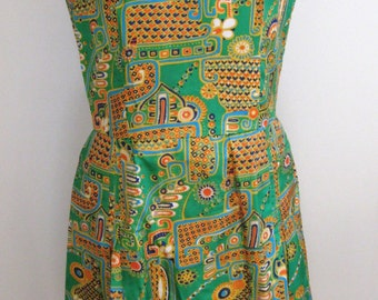 60s 70s Silk Dress Abstract Print Mad Men Look Go Go Girl Green Silky Party Dress Fun Kick Pleats Bright Green and Orange