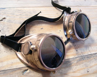 Antique GOLD BRASS Look Steampunk 'NAUTICAL' Cyber Goggles with Metal Fasteners