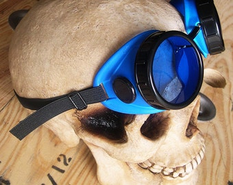 STEAMPUNK Cyber Welding Goggles -BLUE with BLACK Eye Caps and Vent Covers