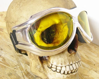 STEAMPUNK GOGGLES - Heavy Duty Over-sized Chrome Look 'Over Glasses' Cyber-Techno SWAT Tactical Force Goggles - Burning Man Goggles