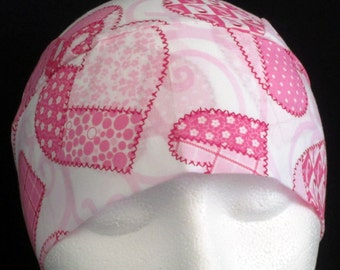 Handmade White Chemo Cap with Pink Hearts, Skull Cap, Hair Loss, Head Wrap, Head Cover, Do Rag, Helmet Liner, Biker, Motorcycle, Alopecia