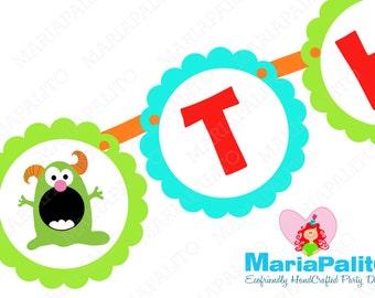 Monsters Banner, I am 2  Banner -Monsters banner, Monster Birthday  A1059
