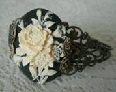 Gothic Rose Cuff Bracelet, gothic jewelry victorian jewelry art nouveau jewelry steampunk renaissance edwardian art deco neo victorian goth
