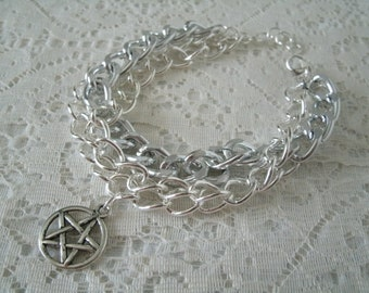 Pentacle Chain Bracelet, wiccan jewelry pagan jewelry wicca jewelry witch witchcraft pentagram goddess handfasting metaphysical magic