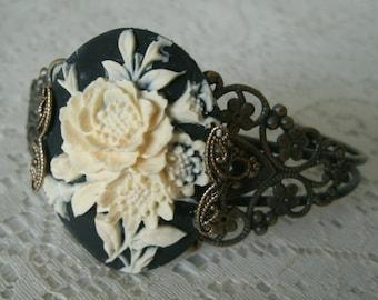 Gothic Rose Cuff Bracelet, victorian jewelry gothic jewelry art nouveau jewelry steampunk renaissance edwardian art deco victorian bracelet