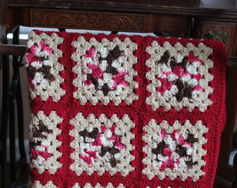 Crochet Throw -Granny Square - Red and White