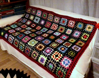 Hand Crochet Afghan Blanket Granny Square Throw Lap Warmer Baby Women Men Home and Living Made to Order Free Shipment