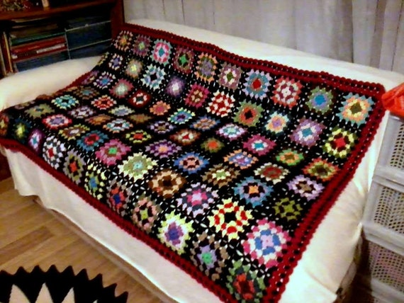 Hand Crochet Afghan Blanket Granny Square Throw Lap Warmer Baby Women Men Home and Living Crochet Kaleidoscope Granny Square Made to Order
