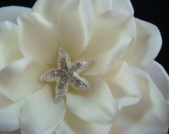 Rhinestone STARFISH headpiece / bridal headpiece / ivory bridal flower starfishe centerpiec / beach bride starfish hair clip