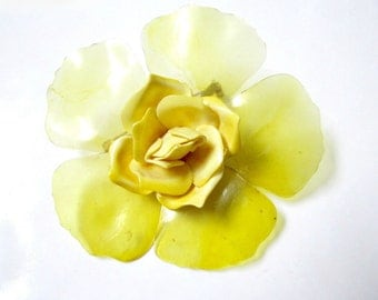 Yellow Flower Brooch Vintage Enamel Metal Plastic Pin Yellow 3""