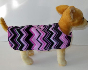 Pink and Black Chevron Harness-Vest for Small Dog.