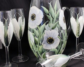 Hand Painted Glass Pitcher and Glasses Set 5 pieces White Flowers. Wedding, Shower Gift