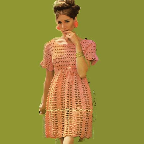Ladys Crochet Dress PDF Vintage Pattern 313 from WonkyZebra