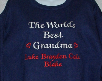 Grandma Sweatshirt, Worlds Best, Custom Grandparent Gift, Personalized With Five Grandkids Names, Gram, Oma, Pop, No Shipping Fee,  AGFT 105