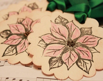 Christmas Tags (Doubled Layered) - Poinsettia Gift Tags - Handmade Vintage Inspired Christmas Gift Tags - Set of 8