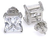 12.0ct 10mm Square Princess-cut Russian Ice on Fire Diamond CZ Screw Back Stud Earrings Solid 925 Sterling Silver, JEX30210-3130A