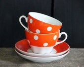 Back in USSR kitchen, polka dot tea or coffee set for two, cups with saucers