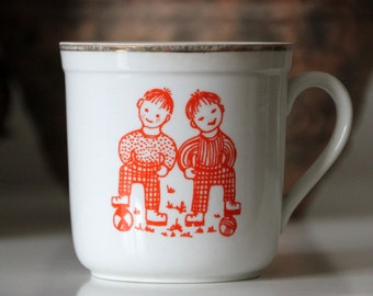 Vintage porcelain mug, made in Soviet Latvia, Riga